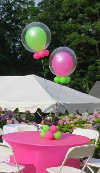 Pink and green balloon inside of a clear balloon! Party décor. Balloon art.