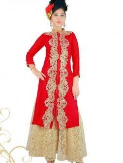 Wedding Wear Red Georgette Lace Border Work Kids Wear Anarkali Suit