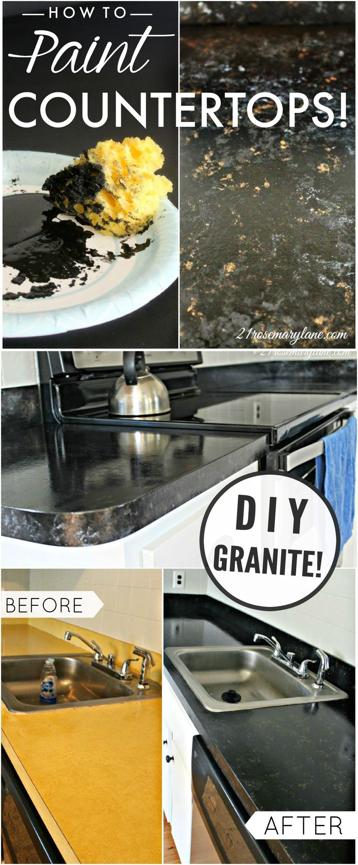 How to paint your countertops to look like granite/marble with Giani™ stone paint kits.    A simple and low-cost way to redo your Kitchen or Bathroom.  DIY affordable countertop update! www.gianigranite.com