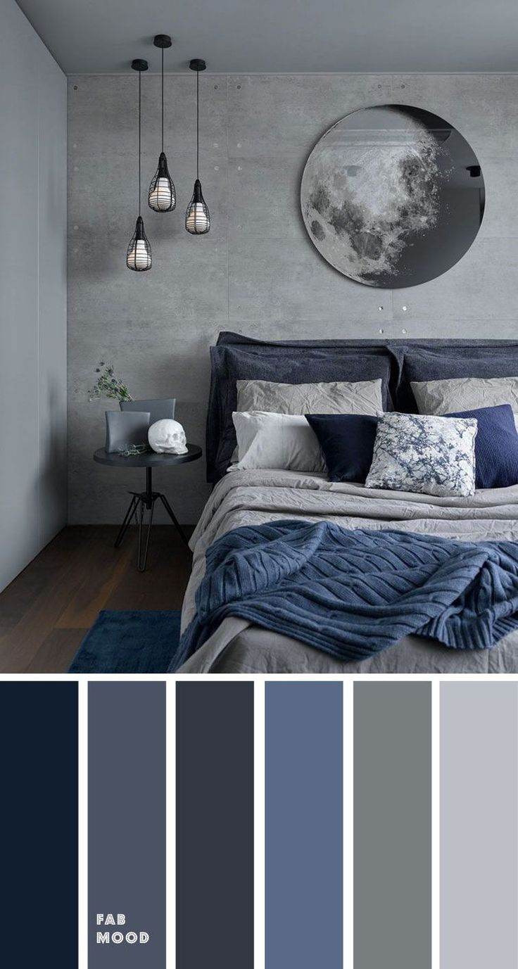 Grey and Dark blue Bedroom Color Scheme , Grey bedroom color ideas. these bedroom room color schemes will take your space to your next level. color schemes for couples Grey and Dark blue Bedroom Color Scheme , Grey bedroom color ideas Grey Bedroom Colors, Dark Blue Bedrooms, Bedroom Colour Palette, Black Rooms, Grey Bedroom Design, Bedroom Ideas Grey, Modern Grey Bedroom, Dark Gray Bedroom, Blue Bedroom Ideas For Couples