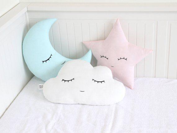 Kids Baby Room Pillow Decor Star Shaped Pillow Pink Mint Soft Decorative Pillow Star Nursery Decor Star Cushion