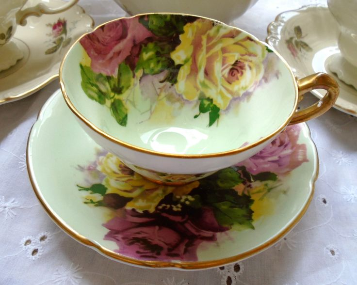 Vintage GIANT ROSES Stanley Bone China England Tea Cup Set Giant ROSES Shabby French Prairie Cottage Farmhouse Downton Abbey Tea Party Chic by FRENCHPRAIRIECOTTAGE on Etsy