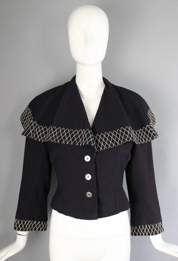 1950s LILLI ANN navy blue stitched spread collar by ritualvintage