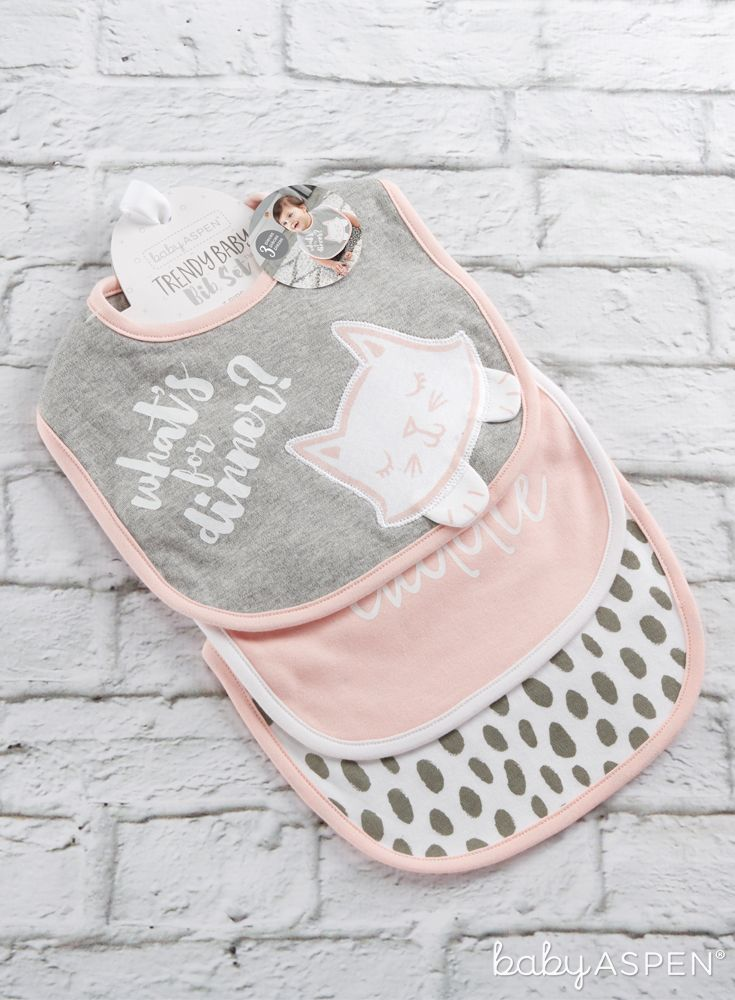 With the help of our trendy baby gift set your little one can eat to her heart's content and still protect whatever's underneath the bib! | Trendy Baby 3-Piece Bib Gift Set (Pink) | Baby Aspen