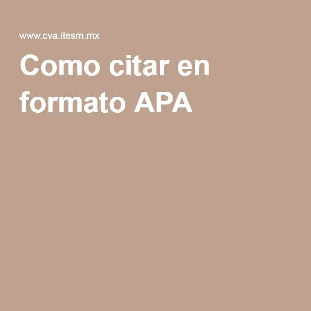 Como citar en formato APA