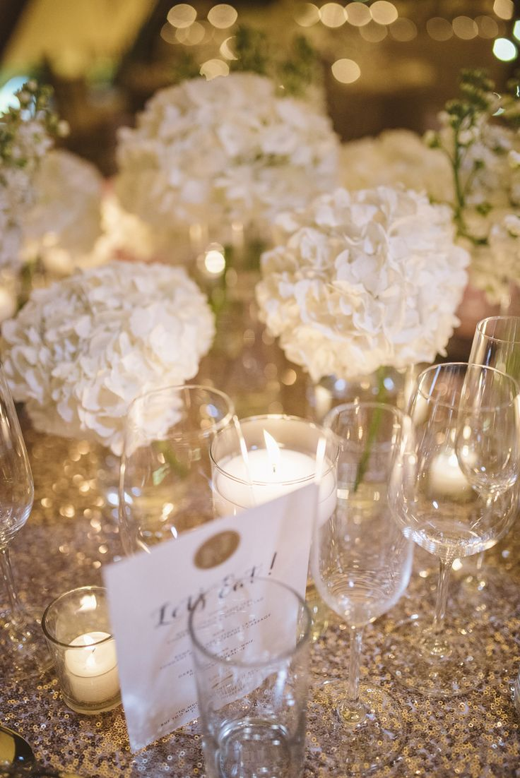 Image by Matt Ethan Photography - A glamorous black tie wedding with gold sequinned bridesmaid dresses at Yorebridge House with sequin tablecloths by Matt Ethan Photography.