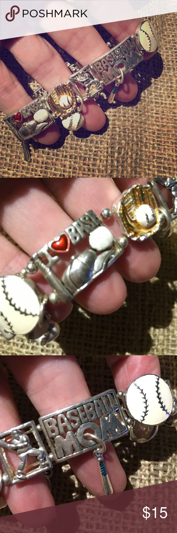 """Baseball MOM bracelet, 7"""" stretchy *****MUST HAVE *****    Baseball MOM bracelet, 7"""" stretchy   This is a MUST HAVE bracelet for ANY crazy baseball mom!!   Show your support for your favorite player by wearing this bracelet at his game!  Price is firm. Thank you. Accessories"""