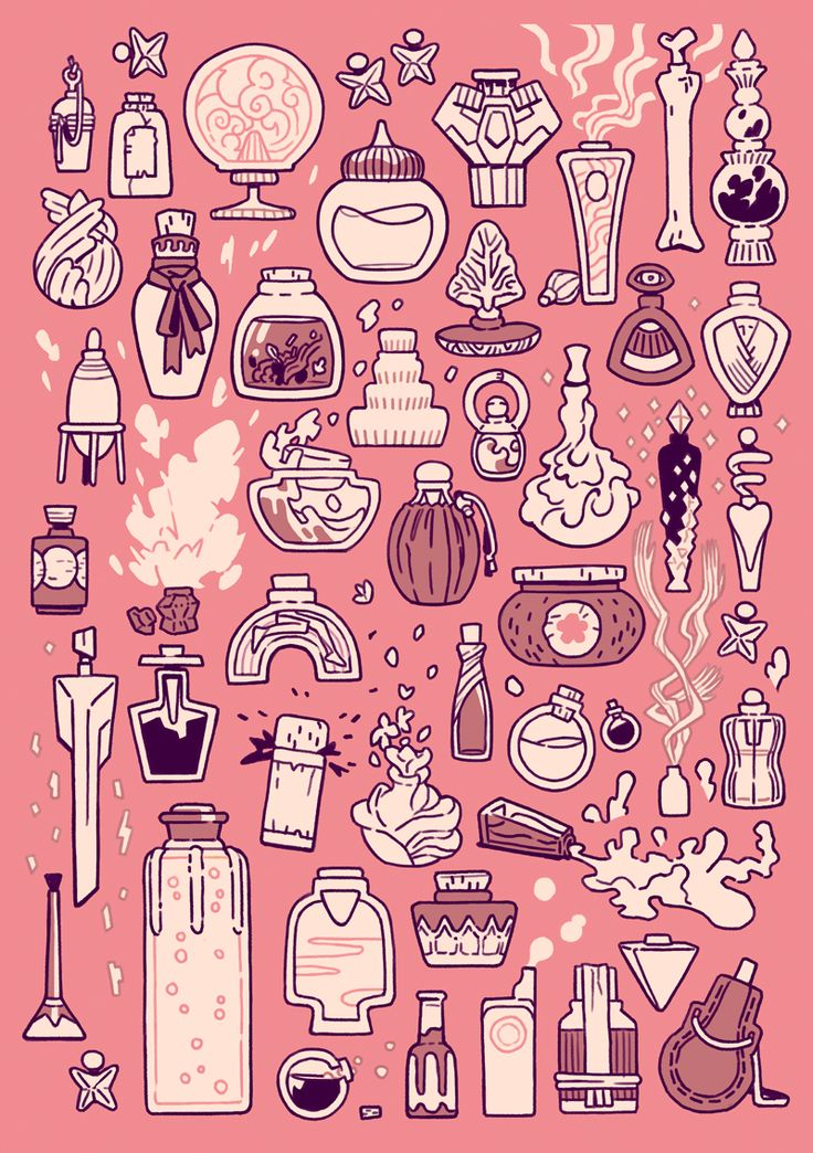 """elemei: """" 50 potion bottles, this collection ranges from hangover cures to potent poisons. watch out for the cartwheeling magic caffeine! ✨ """""""