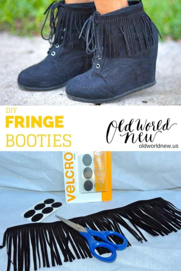 Check out Fall Fashion Trends That You Can DIY On The Cheap | DIY Fringe Booties by DIY Ready at http://diyready.com/fall-fashion-trends-diy/