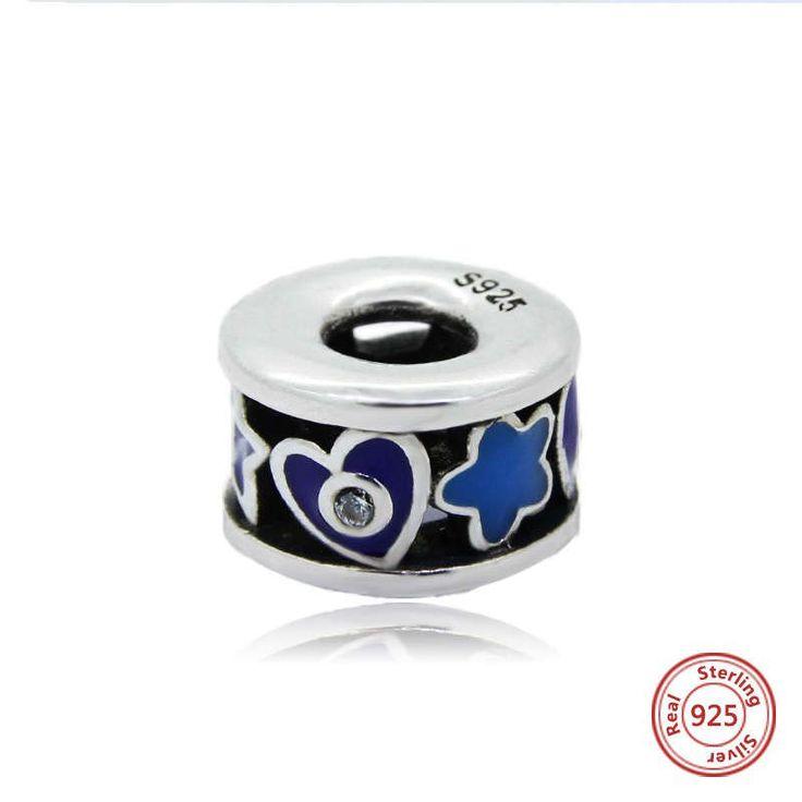 Bead distanziatore con smalto nero, viola e blu 100% argento sterling 925 adatta misure Pandora charm Pandora bead Braccialetto europeo di OceanBijoux su Etsy