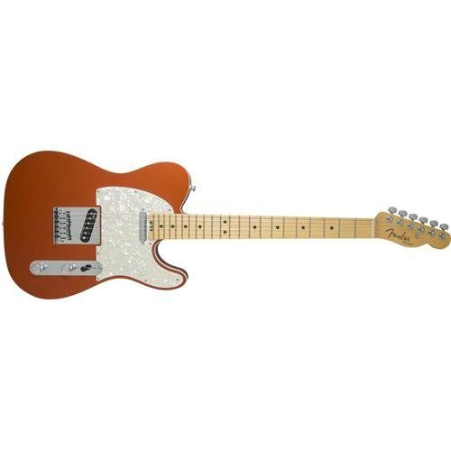 Fender American Elite Telecaster - Autumn Blaze Metallic. Hum-Free classic Tele tones provided by the all-new fourth-generation Noiseless single-coil Telecaster pickups. Achieve a wide range of tonal versatility that add a warm thick girth or the expected single coil shimmer from the S-1 switch located on the volume control. Play in comfort anywhere on the neck via the compound profile neck; redesigned contoured neck heel. Enjoy increased tuning stability and proper string angle via the...