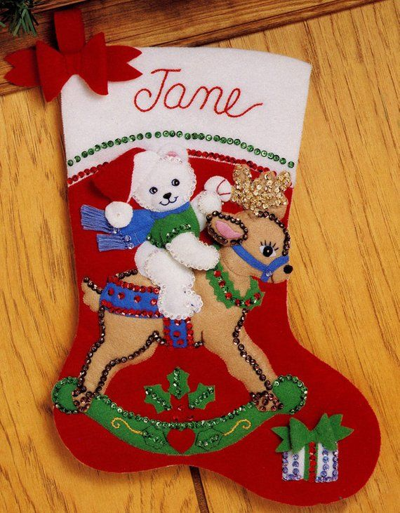 Teddy S Ride 15 Bucilla Felt Christmas Stocking Kit 33091