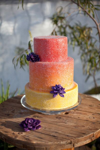 Wedding color pallet sunset  red orange yellow pop of purple  Ombre Wedding Cake
