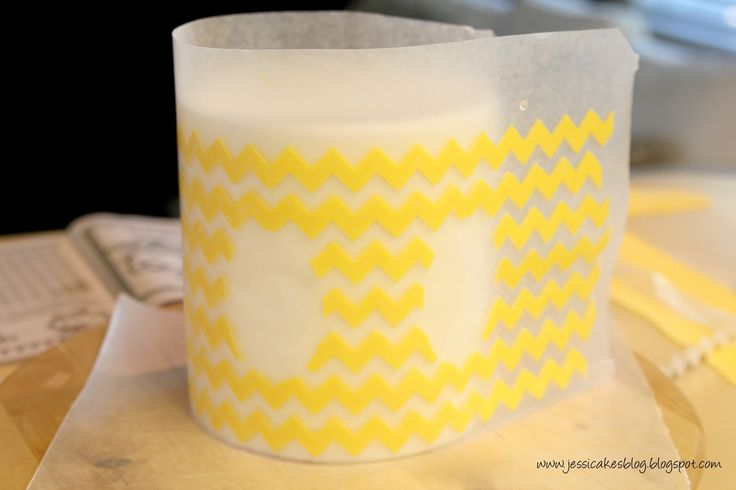 Jessicakes: Chevron Inspired Safari Themed Baby Shower - use wax paper to transfer fondant/modelling chocolate to cakes