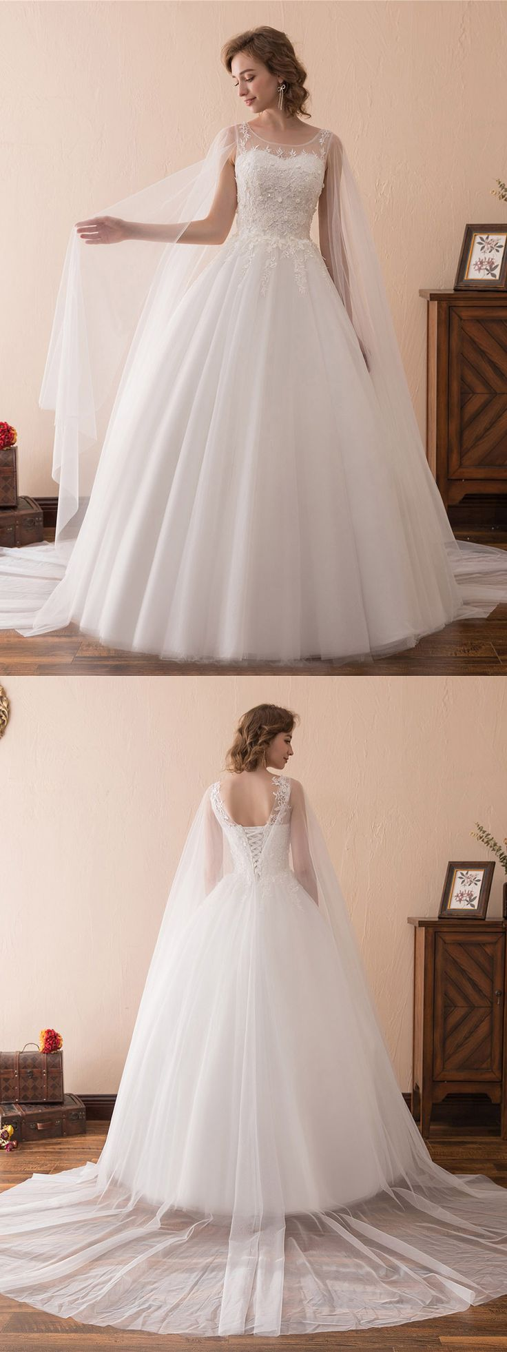 Best 25 ballroom wedding dresses ideas on pinterest tulle simple tulle lace ballroom wedding gowns with cape train ch6682 gemgrace junglespirit Image collections
