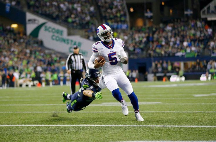 Monday Night Football: Bills vs. Seahawks:   November 7, 2016  - 31-25, Seahawks  -     Quarterback Tyrod Taylor #5 of the Buffalo Bills takes it in for a touchdown against linebacker Brock Coyle #52 of the Seattle Seahawks at CenturyLink Field on Nov. 7, 2016 in Seattle.