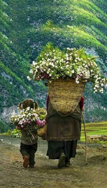 Mountains, woman and child, basket of flowers.