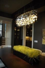 chandelierDecor, Wall Colors, Capiz Shells Chandeliers, Home Interiors, Lights Fixtures, Design Ideas, Contemporary Dining Rooms, Benjamin Moore, Dark Wall