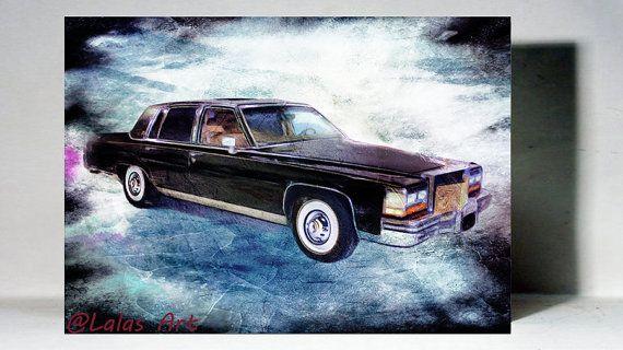 Vintage Retro Style Art Old-timer 1988 Cadillac by LalasArtWorld