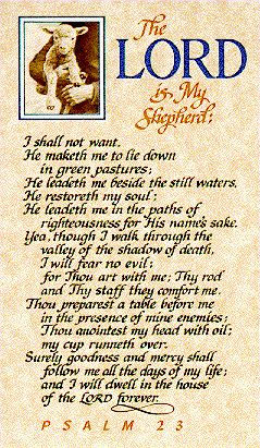 My favorite psalm....  Psalm 23 King James Version | 33 posted on 06/25/2011 6:57:00 PM PDT by Kathy in Alaska (~ RIP Brian ...