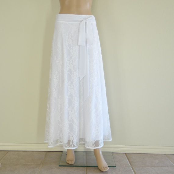 Lace Long Skirt. White Maxi Skirt by lisaclothing on Etsy, $33.99