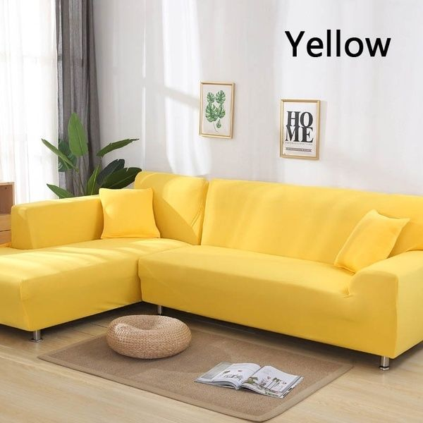 Universal 2pcs Covers For L Shape Sofa Solid Color Recliner Protector Cover Sofa Slipcover Sofa Decor 16 Colors Sofa Covers L Shaped Sofa Red Sofa