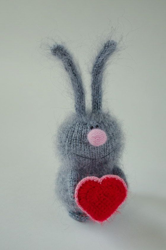 Are you looking for a great gift for a loved one?This adorable Bunny would make a great Valentines Day gift! This miniature bunny is hand-knitted from fuzzy 100% eco friendly mohair quality yarn and stuffed with hypo-allergenic holofiber. Bunny holds a wonderful crocheted heart in its paw. The toy will arrive to you packed in a custom brown bag. I could also make a different color for the heart or the Bunny itself (please let me know). This is a one of a kind Bunny soft toy, which is sure…
