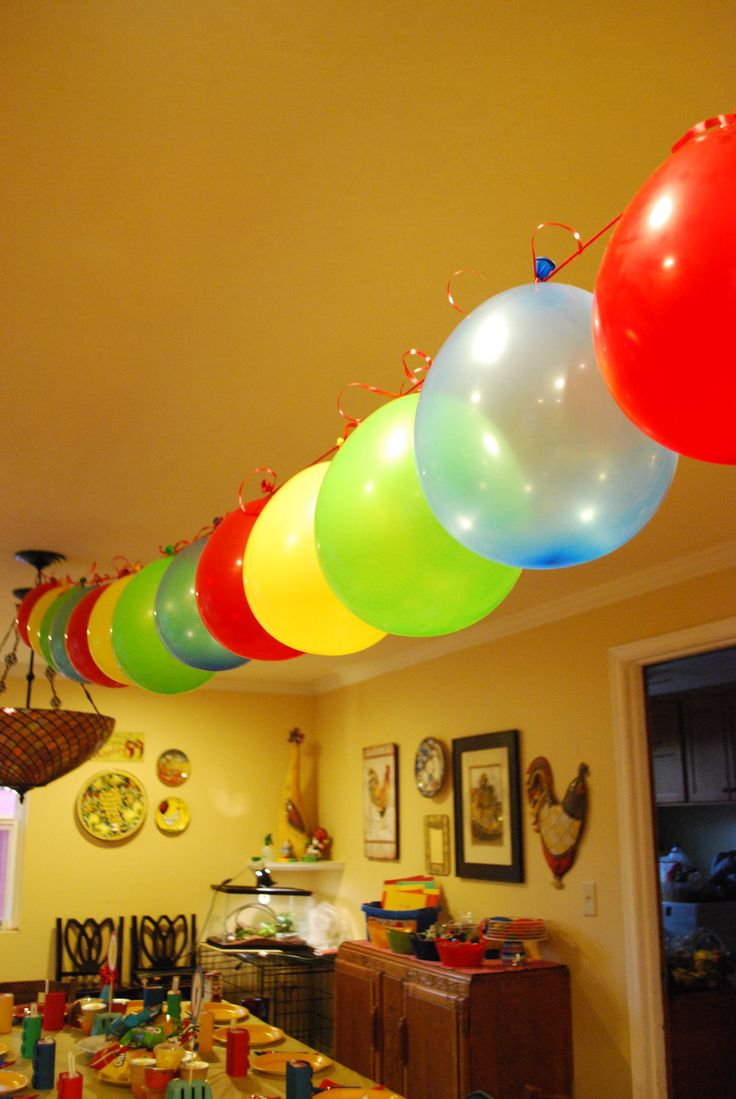 balloon banner aqua and purple cheap and easy decoration