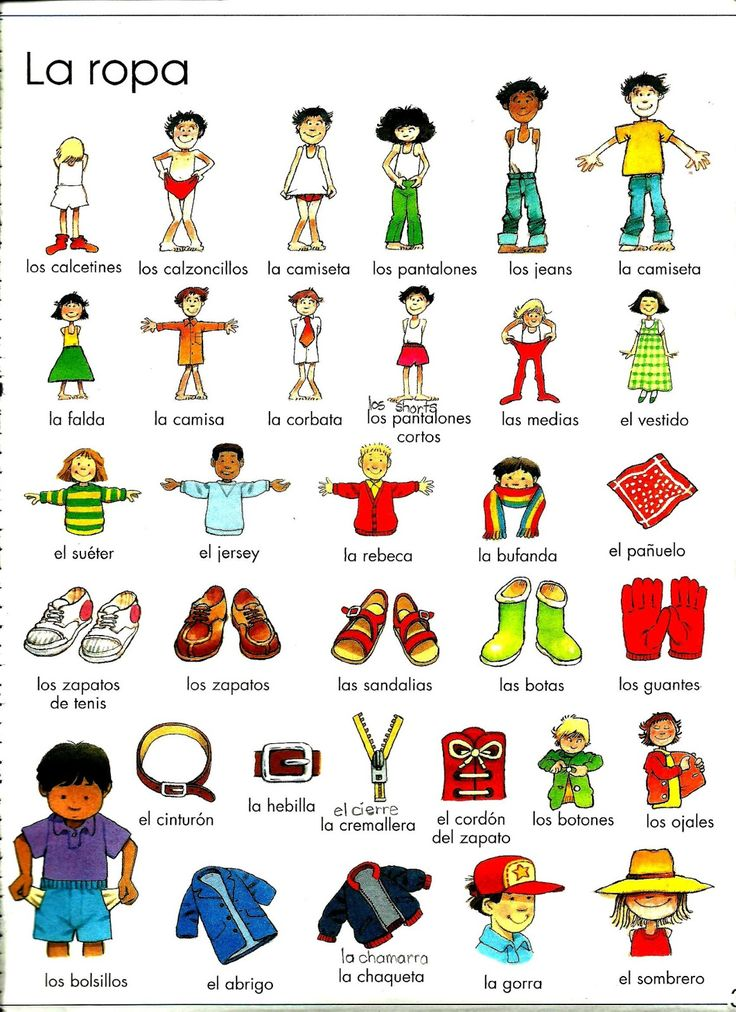 clothing flashcards Spanish