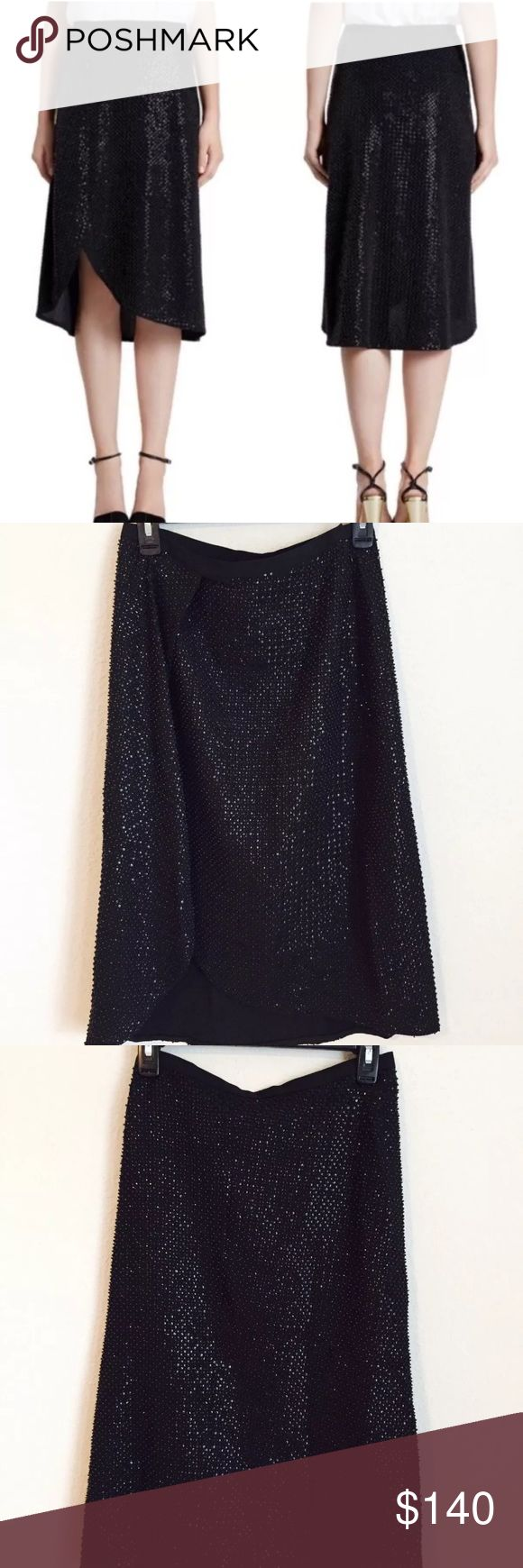 Halston Heritage Black Sequin Faux Wrap Skirt Sz 4 Halston Heritage black sequin skirt with front faux wrap. New with tags. Size 4. 🚫 No trades Halston Heritage Skirts