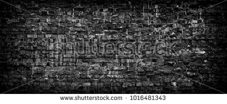 Black grunge brick wall background. Wide high resolution panorama of old brickwork