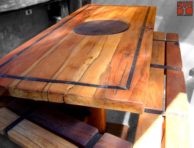 Nativo Redwood. Bancas de roble rústico con flejes de fierro forjado. Dimensiones: 0.35x1.00 + 0.35x2.00 www.facebook.com/nativoredwoodsa