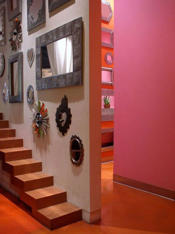 Precious Small Bathroom Decor Mexican Style With Artistic Painting :  Astonishing Small Bathroom Decor Mexican Style Pink Wall Staircase