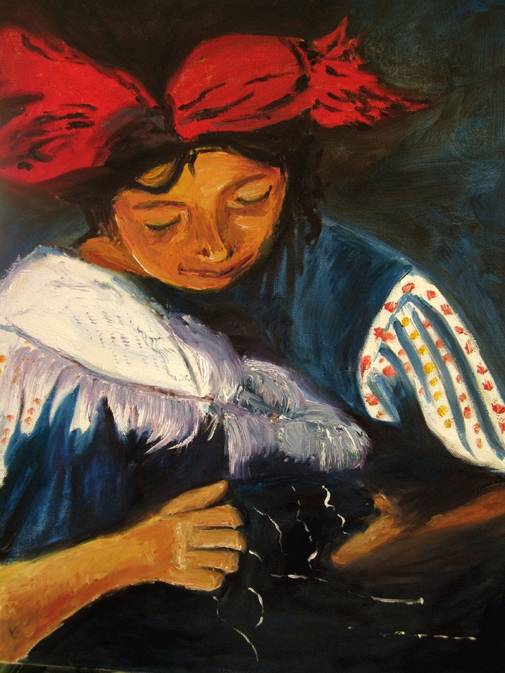 "Title:  Mayan Weaver  Media: Oil on Canvas  Size: 16"" x 20""  Artist: Tina Winterlik aka Zipolita  Price: $300"