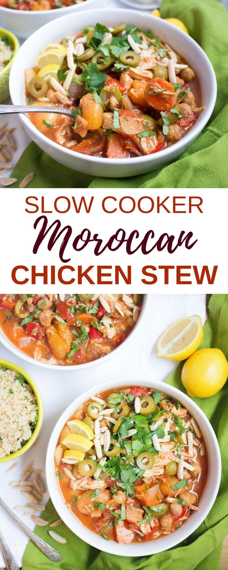 This Slow Cooker Moroccan Chicken Stew is packed with warm spices, briny olives, sweet apricots, and tender, flavorful chicken and veggies! It's perfect for an easy weeknight meal - just set it in the slow cooker and come home to a cozy, hearty, and satis