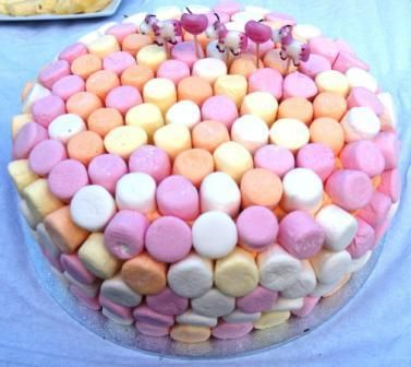 Pink Marshmellow Cake...so cute!  I know a little girl whose 1st birthday this could be perfect for!