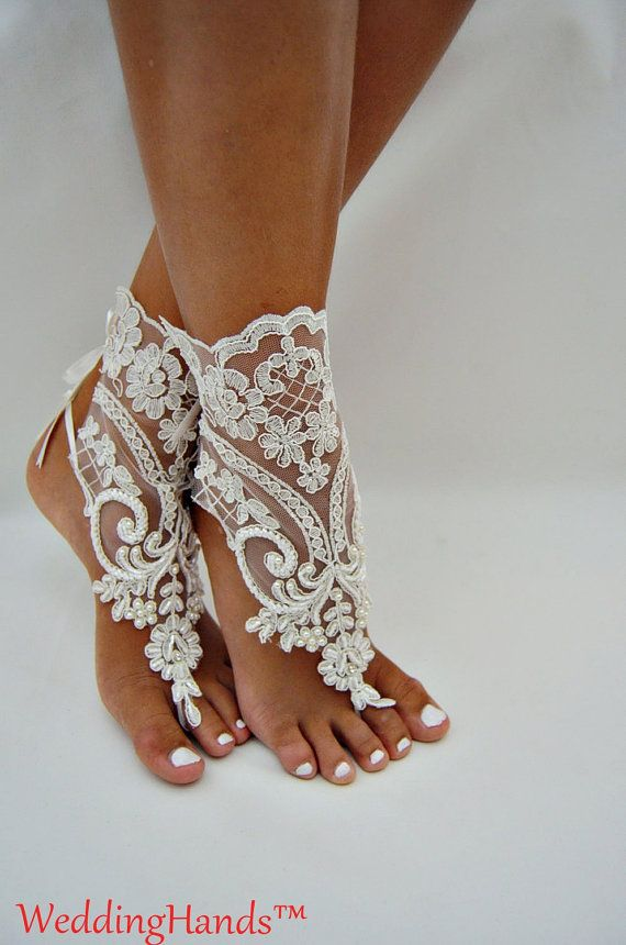 Bridesmaid lace barefoots Footless bridal shoes by WeddingHands