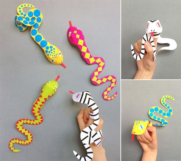 Sub lesson.....Printable Snake Finger Puppets from Mr Printables