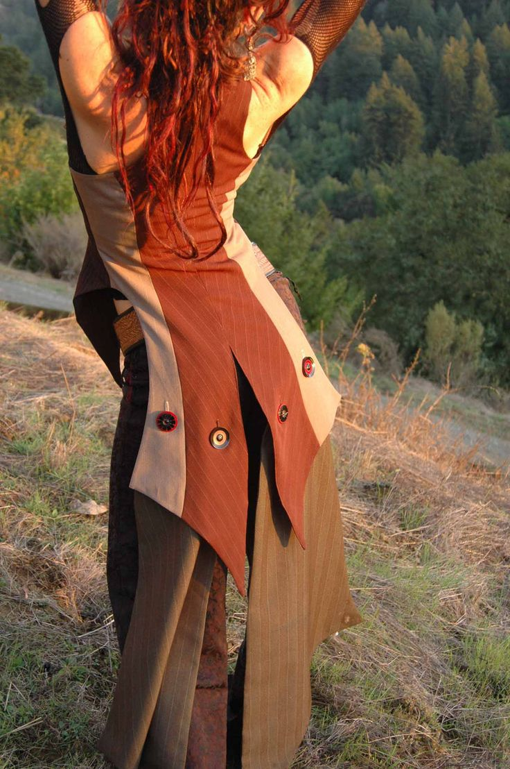Ultimate Fitted Womens Vest, Corset front, Tails to floor, assorted mens pinstripe suit fabric, Burning Man, Festivals. $333.00, via Etsy.