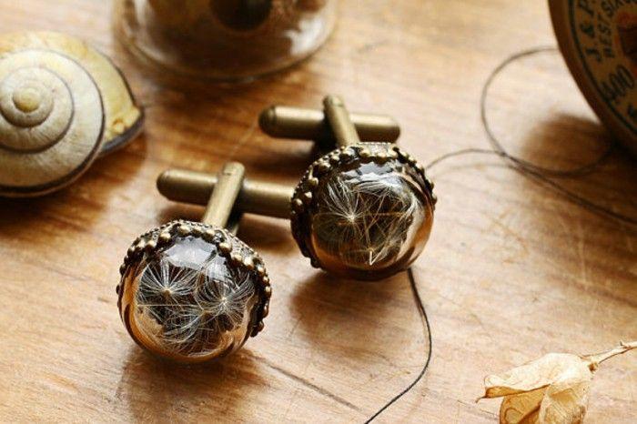 cufflinks brass glass about dandelions