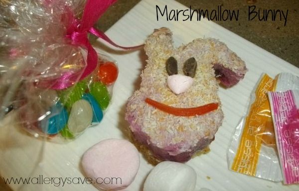 Marshmallow Bunny! Great for kids with allergies or intolerances. !  #allergyfree #glutenfree #nutfree #eggfree #dairyfree #soyfree #easterrecipes #allergyfriendly   Recipe available in Easy Allergy Free Easter (eBook)