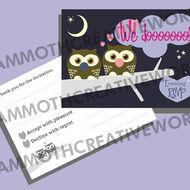 25 Evening  RSVP - Owl Wedding Stationery