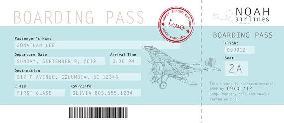 Boarding Pass Birthday Invitation by Partysprinkle on Etsy, $1500 - fake plane ticket template
