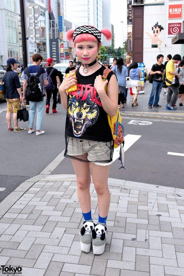 Pink Twintails, Lego Earrings, Sheer Top & Panda Platforms in Harajuku (Tokyo Fashion News)