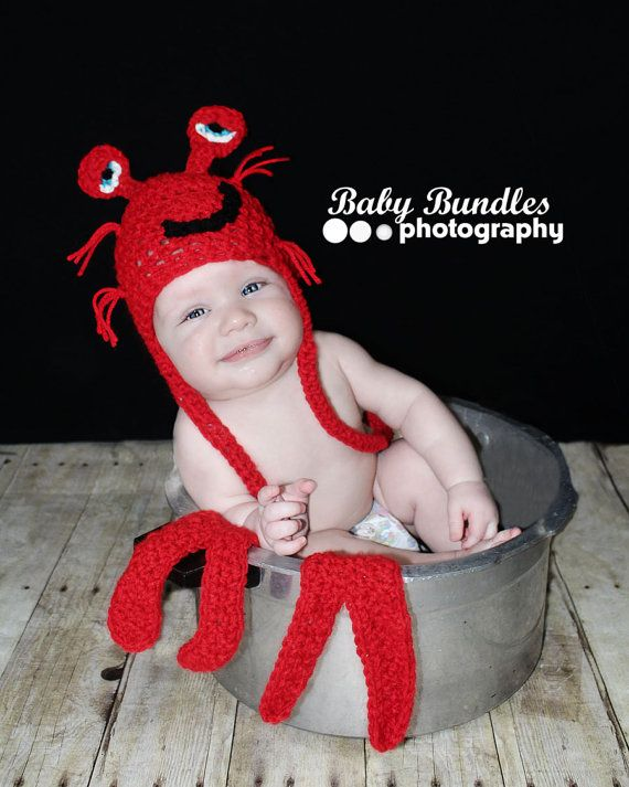 Newborn baby lobster crab  hat and arms set  di shortycrochet
