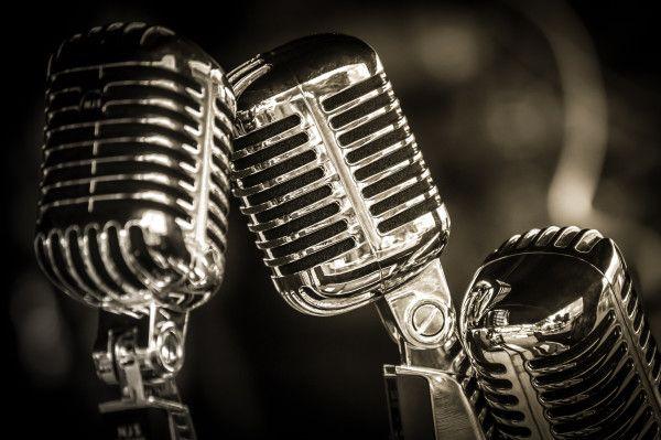sepia toned retro microphone closeup