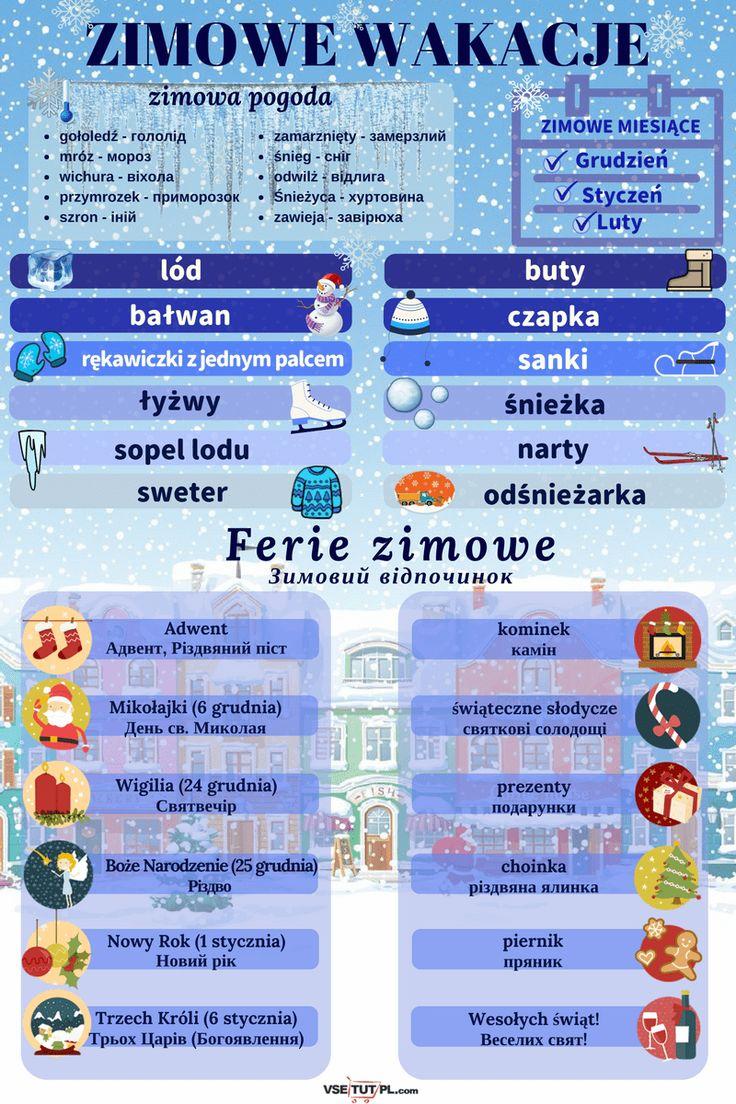 БЕЗКОШТОВНІ уроки польської мови ОНЛАЙН на сайті http://vsetutpl.com/ #polish #poland #foreignlanguage #language #languagelearning #польська #польский #польскийязык #польськамова #уроки #инфографика #слова #vsetutpl #winter #snow #Christmas #zima #weekend #зима #сніг #різдво #канікули #рождество #снег