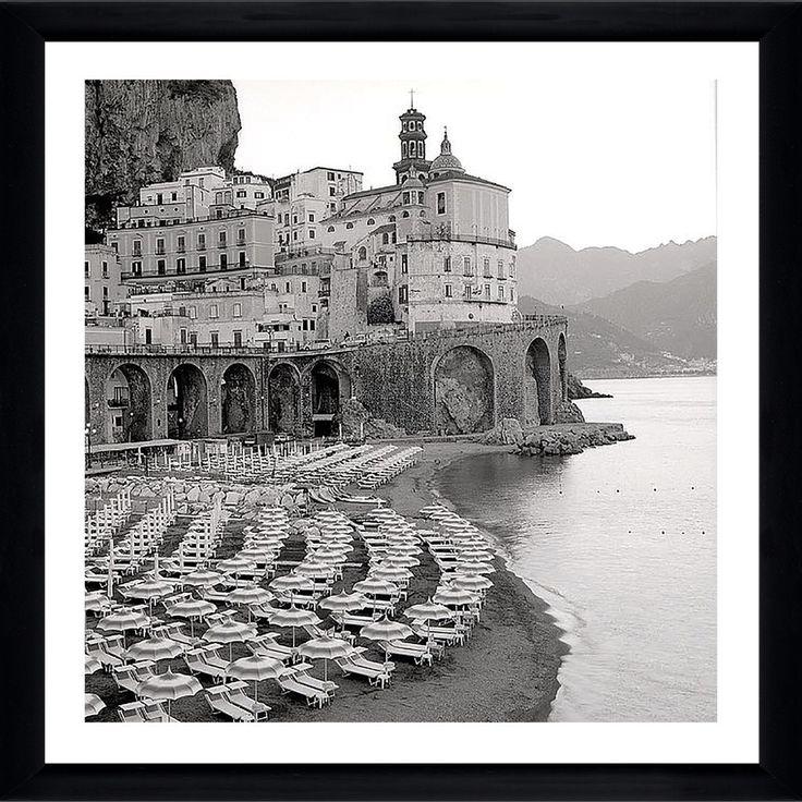 "FramedCanvasArt.com Alan Blaustein ""Ombrellone da Spiaggia #31"" Framed Plexiglass Wall Décor"