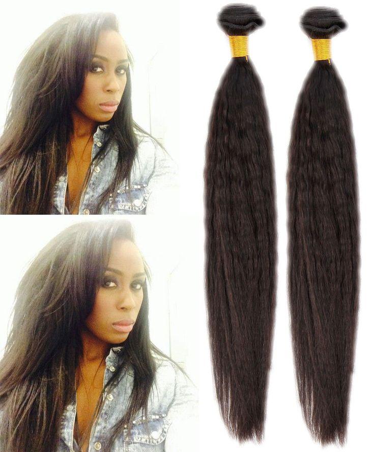 Best 25 kinky straight hair ideas on pinterest kinky straight 23bundles 50gpc natural black kinky straight coarse yaki human hair extension pmusecretfo Image collections