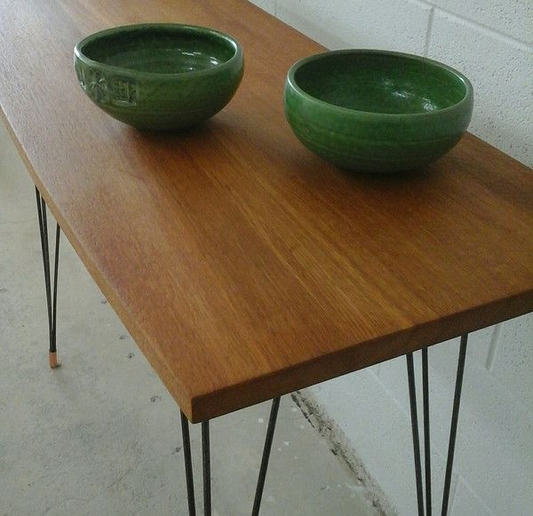 Console table from recycled Oak with steel legs and Copper feet. I have made a few of these now, and although my basic design does not vary, the tops are from